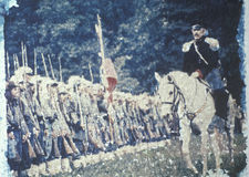 De polaroid- Overdracht van scène van Burgeroorlogslag van Stier stelt het Weer invoeren, Virginia in werking royalty-vrije stock foto