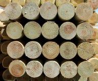 De polen van het de pijnboomhout van Stecked Stock Afbeelding