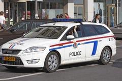 De politie komt in het centrum van Luxemburg tussenbeide Stock Foto's