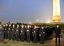 De politie tijdens de alle-Russische Patriottische actie ` morgen was de oorlog ` op Poklonnaya-heuvel Stock Afbeelding