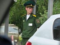 De politieagent van de grenspatrouille in Tiraspol royalty-vrije stock fotografie