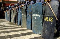 De Politieagenten van de rel Stock Foto