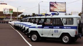 De politiedagen van Tatarstan. Politiewagens Stock Afbeeldingen