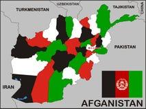 De Politieke Kaart van Afghanistan Stock Afbeeldingen