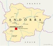 De politieke kaart van Andorra stock illustratie