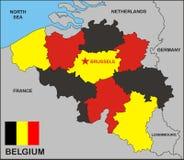 De Politieke Kaart van België Royalty-vrije Stock Afbeelding