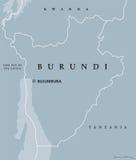 De politieke kaart van Burundi Stock Fotografie