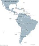 De politieke kaart van de landen van Latijns Amerika stock illustratie