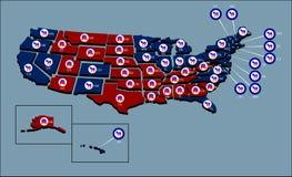 De Politieke Kaart van de V.S. Royalty-vrije Stock Afbeeldingen