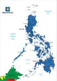 De politieke kaart van Filippijnen Royalty-vrije Stock Fotografie