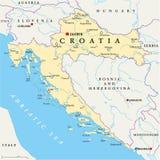 De politieke kaart van Kroatië royalty-vrije illustratie