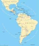De politieke kaart van Latijns Amerika stock illustratie