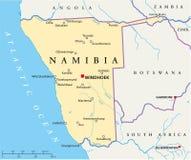 De politieke kaart van Namibië stock illustratie