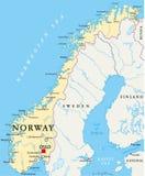 De politieke kaart van Noorwegen vector illustratie