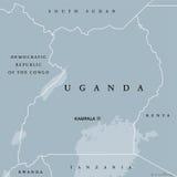 De politieke kaart van Oeganda Royalty-vrije Stock Fotografie