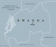 De politieke kaart van Rwanda Stock Afbeeldingen