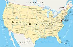 De politieke kaart van de Verenigde Staten van Amerika Stock Afbeelding