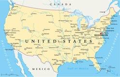 De politieke kaart van de Verenigde Staten van Amerika Royalty-vrije Stock Fotografie