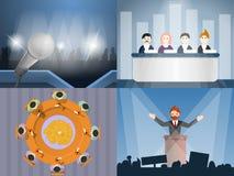 De politieke reeks van de vergaderingsbanner, beeldverhaalstijl royalty-vrije illustratie