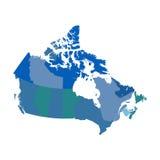 De politieke vectorkaart van Canada stock illustratie