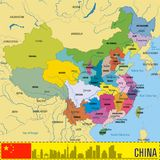 De politieke vectorkaart van China met gebieden Royalty-vrije Stock Fotografie