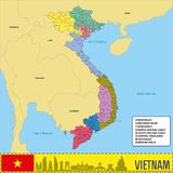 De politieke vectorkaart van Vietnam met gebieden Stock Afbeelding