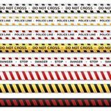 De politielijn en kruist niet, lijnen waarschuwen Waarschuwingsbanden op een transparante achtergrond worden geïsoleerd die vector illustratie