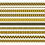 De politielijn, misdaadscène, kruist geen vector naadloze strepen Reeks gele en zwarte remmingslijnen stock illustratie