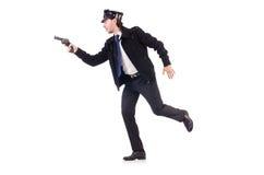 De politieman op wit wordt geïsoleerd dat royalty-vrije stock fotografie