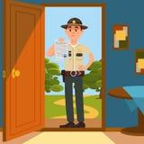 De politiemankarakter van de stads mannelijk sheriff in officiële eenvormige status op de drempel van het huis en het tonen van w royalty-vrije illustratie