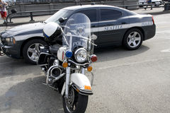 De politiewagen en de motorfiets van Seattle Royalty-vrije Stock Afbeelding