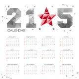 De POLY Eenvoudige Kalender van 2015 Stock Foto's