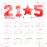 De POLY Eenvoudige Kalender van 2015 Stock Afbeeldingen