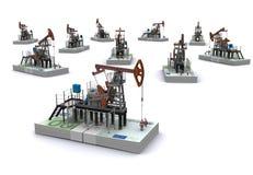 De pomp-hefbomen van de olie tribunes op pakken van euro Stock Fotografie