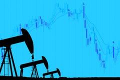 De pomphefboom van de silhouet industriële olie en dalende oliegrafiek op Royalty-vrije Stock Foto