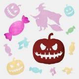 De pompoen, de heks en het suikergoed van Halloween Royalty-vrije Stock Afbeeldingen