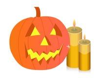 De pompoen en de kaarsen van Halloween Stock Afbeelding