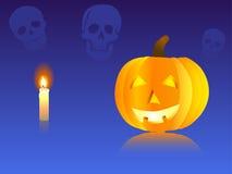 De pompoen en de schedels van Halloween Stock Fotografie