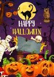 De pompoen, de monsters en de brij van Halloween bij begraafplaats vector illustratie
