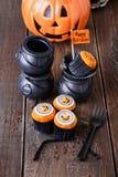 De pompoen van Halloween cupcakes Stock Foto's