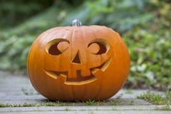 De pompoen van Halloween in de tuin Stock Foto's