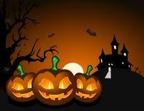 De pompoen van Halloween en achtervolgd kasteel vector illustratie