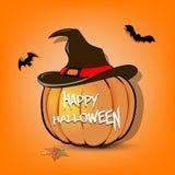 De pompoen van Halloween in heksenhoed stock illustratie