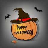 De pompoen van Halloween in heksenhoed vector illustratie