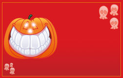 De pompoen van Halloween het glimlachen kaart Royalty-vrije Stock Foto