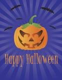 De Pompoen van Halloween met de Vliegende Illustratie van Knuppels Royalty-vrije Stock Foto