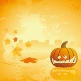 De pompoen van Halloween met doorbladert en bezinning stock illustratie