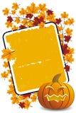 De pompoen van Halloween met doorbladert en frame vector illustratie