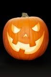 De pompoen van Halloween op zwarte Stock Afbeelding