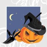 De pompoenen, de knuppel en de spinnen van Halloween. Het frame van de vakantie Stock Afbeelding